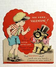 1920s Charm Valentine's Day Card- Boy Talking to Dog w/ Monocle Charm