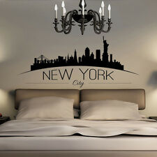 Large NYC New York City Skyline Silhouette Bedroom Wall Art Sticker Wall Decal