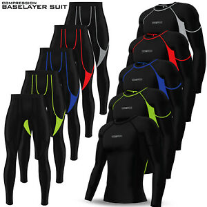 Mens Compression Tights + Top Base Layer Skin Tights Shirt Armour Full Suit