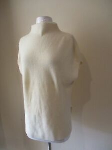 VINCE cream ivory ribbed mock neck sleeveless pullover cashmere sweater  sz M