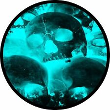 Teal Glow Skull Jeep Wrangler Liberty RV Trailer Camper Spare Tire Cover
