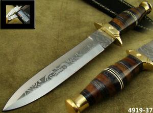 ALISTAR 11.9 HANDMADE ACID ETCH STAINLESS STEEL HUNTING DAGGER KNIFE 4819-37