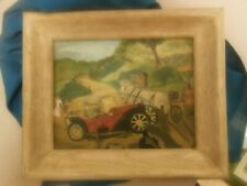Antique/Vintage Primitive Oil Painting On Canvas Board Signed Broome, Horses Car
