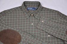 Men's Ralph Lauren, Cotton Twill Plaid Work-Shirt W/ Suede Elbow Patch. Size.M