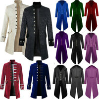 Mens Steampunk Tailcoat Vintage Long Coat Jacket Gothic Victorian Frock Coats