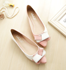 Women's Oxford Mixed-color Bow Pointed Toe Flat Pump Casual Shoes Unique Gothic