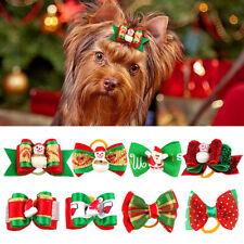 20/100pcs Christmas Pet Hair Bows Cute Bowknot Dog Cat Xmas Grooming Accessories