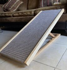 "Adjustable Pet Ramp 40"" Dog Cat Stairs Folding Paw Wood Alpha Steps Couch Bed Xl"
