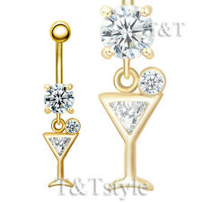 TT 14K Gold GP CZ Martini Glass Dangle Belly Bar Ring (BL131)