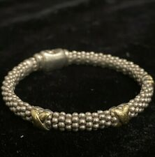 """Lagos Caviar Sterling Silver 925 Bracelet w/ 18K 750 Gold Accent 25.1g Size 6.5"""""""