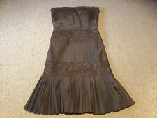 Pre Owned Womens Size 10 Banana Republic Brown Strapless Dress.  Silk/Polyester