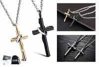 Coppia Collana croce Uomo Donna charm acciaio inox rosario nera cross nero