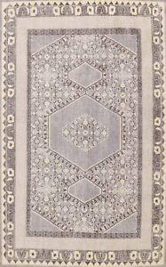 Vintage Style Gray Oushak Geometric Oriental Area Rug Wool Hand-knotted 8x11 ft