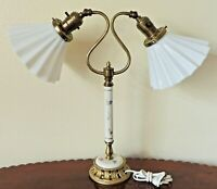 Vintage Crimped Milk Glass Gold Metal Porcelain Flower Student Desk Table Lamp