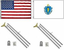 3x5 Usa American & State of Massachusetts Flag & 2 Aluminum Pole Kit Sets 3'x5'