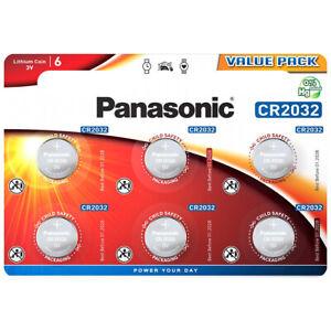 kQ Panasonic Knopfzelle Lithium CR2032 3V Batterien 6er Blister