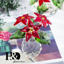 Crystal Poinsettia Small Flower Figurine Home Xmas Decoration Holiday Ornaments