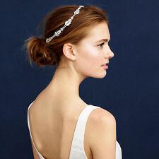 Lux Vintage Sparkle Leaves  Rhinestone Headband Wedding Party Bridal Hairpiece