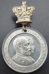 Antique King Edward VII Coronation Medal, 1902, Pendant From Pin Fitting