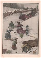 SLEIGH SPILLS FAMILY & PICNIC FOOD in the SNOW by A B FROST, hand colored 1904