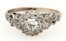 18ct White Gold & Diamond Cluster Ring Vintage Fine Wedding Jewellery c1950