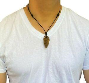Mens Arrowhead Stone Adjustable Necklace Ethnic Tribal Waterproof Gift Unisex