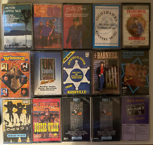HUGE LOT OF 15 COUNTRY MUSIC CASSETTES BOXCAR/DIXIE FLYERS/NEON WEST/BOBBY BARE