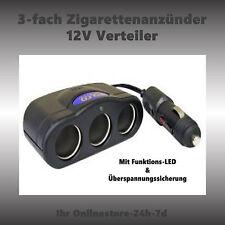 12V Verlängerung 3-fach Steckdose Auto Boot Camping Zigarettenanzünder Kabel NEU
