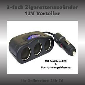 12 Volt Steckdose Verteiler 3 fach Zigarettenanzünder Verlängerung Mehrfach NEU