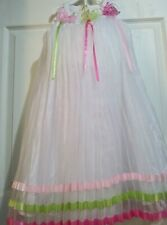 Rare Editions Embroidered Lace Pleated WHITE BUTTERFLY easter   Dress sz 6 girls