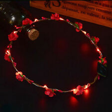 Womens LED Glow Flower Party Wedding Headband Luminous Wreath Garland Hair Band