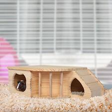 Pawhut Guinea Pig Small Animal House Fir Wood Shelter 2 Doors 60L x 37W x 20H cm