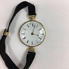 Antique 18ct Yellow Gold Tested Enamel Wristwatch Aiguilles Ladies