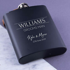 Personalised Hip Flask Engraved Steel 8oz Wedding Groom Best Man Usher Gift