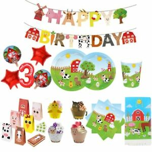 Mcdonald Farm Animals Birthday Party Supplies Barn Tableware Balloon Cake topper
