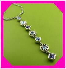 Brighton Halo Aurora Y Purple Blue Tanzanite Crystal Silver Necklace NWTag