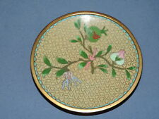 "Vintage Chinese Cloisonne Enamel Pin Tray Cherry Blossom Bud Flower 4.25"" Vgc"