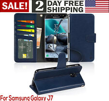 Samsung Galaxy J7 2018 Case PU Leather Wallet Style Card Pocket Phone Cover Blue