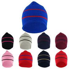 Double Striped Acrylic Knit Warm Winter Beanie Cap - FREE SHIPPING