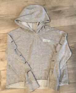 Girls Justice Crop Hoodie Hooded Sweatshirt Top Slit Sleeves Sz 14 16 Gray