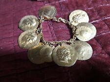 Women Simulated Roman Coin Bracelet 24k Gold Plated Roman Figure