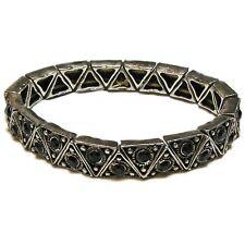 Vintage Triangular Silver Tone Metal and Black Rhinestone Stretch Bracelet
