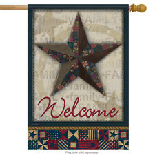 """Quilted Barn Star Patriotic House Flag Stars & Stripes Primitive  28"""" x 40"""""""