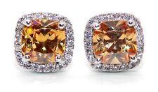 18kt White Gold Plated Morganite & White Topaz 2.34ct Stud Earring