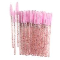 100pcs Eyelash Brushes Crystal Rod Eye Lash Applicator Grafting Pink