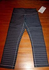 Lululemon Wunder Under crop II TSSD gray black stripe NWT sold out 10 Large