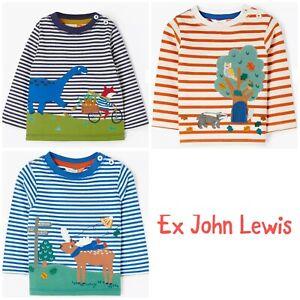 Ex John Lewis Boys Girl Unisex Animal Dinosaur Stripe Applique Top Age 2/3 3/4