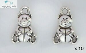 10 x Tibetan Silver Teddy Bear Charm Pendant Christening Baby Shower 16mm (TC46)