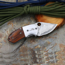 SHOOTEY Mantis Folding Knife Damascus Blade Wood Handle Tactical Survival SH-9D
