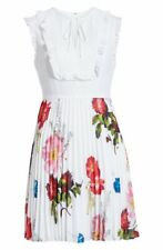 NWT Ted Baker Romanna Floral Pleat Dress in White - Size 2 US 6 #TED24